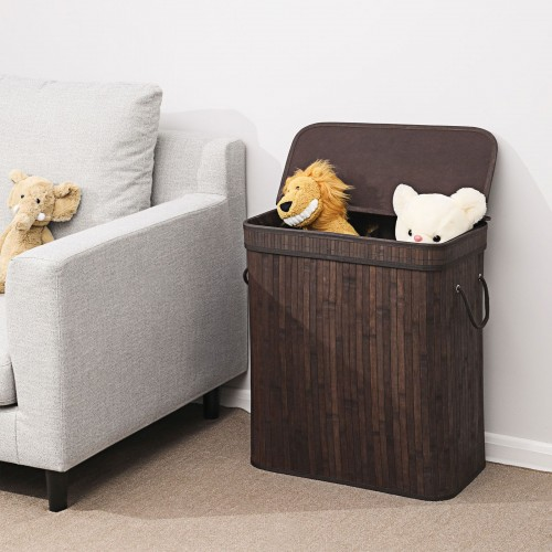 Bamboo Rectangular Laundry Hamper